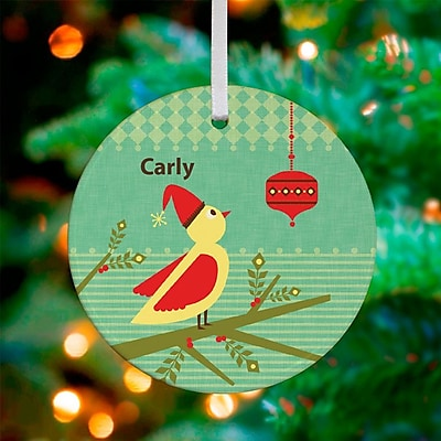 GreenBox Art Berries and Birdie Personalized Ornament by Carmen Mok