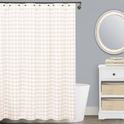 LaMont Finley Cotton Shower Curtain; Beige and White