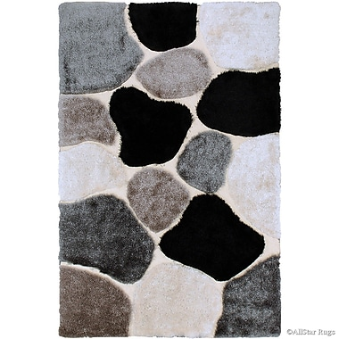 AllStar Rugs Hand-Tufted Brown/Black Area Rug; 7'11'' x 10'5''