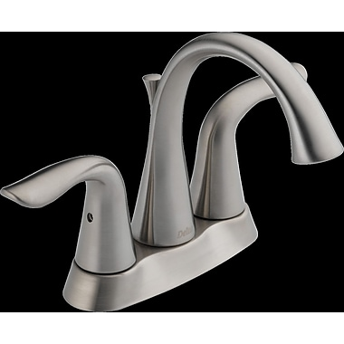 Delta Lahara Centerset Double Handle Bathroom Faucet w/ Drain Assembly and Diamond Seal Technology
