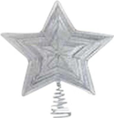 Frantic Fern Star Design Wire Tree Topper; Silver