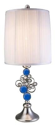 OK Lighting 28.25'' Table Lamp; Brushed Silver/Blue Crystal