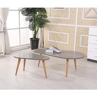 Container Sara 2 Piece Coffee Table Set; Grey