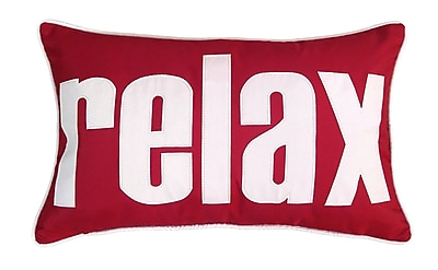 Edie Inc. Relax Indoor/Outdoor Lumbar Pillow; Red/White