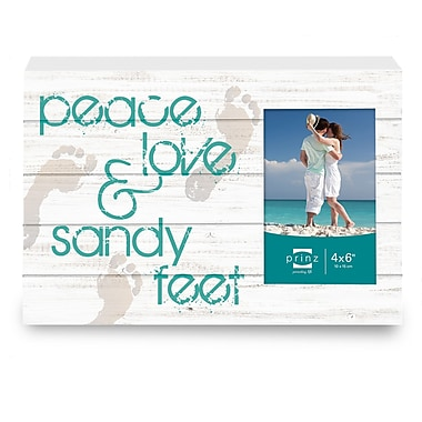 Prinz Sea Breeze 'Peace, Love, And Sandy Feet' Photo Plaque Picture Frame