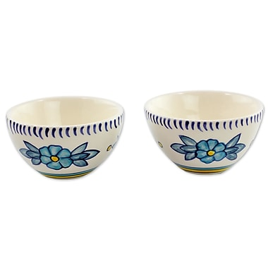 Novica 5 oz. Bermuda Artisan Crafted Ceramic Floral Bowl (Set of 2)
