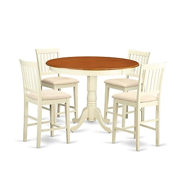 Wooden Importers Trenton 5 Piece Counter Height Pub Table Set; Buttermilk and Cherry