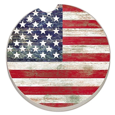 CounterArt Absorbent Stone American Flag Car Coaster (Set of 2) WYF078279300763