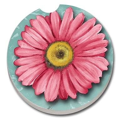 CounterArt Absorbent Stone Blooming Daisy Car Coaster (Set of 2)