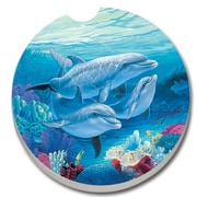 CounterArt Absorbent Stone Dolphin Lover Car Coaster (Set of 2)