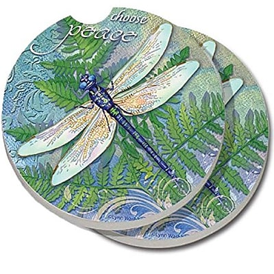 CounterArt Absorbent Stone Dragonfly Inspiration Car Coaster (Set of 2) WYF078279300771