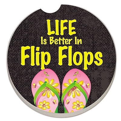 CounterArt Absorbent Stone Life Is Better in Flip Flops Car Coaster (Set of 2) WYF078279300775