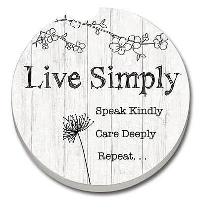 CounterArt Absorbent Stone Live Simply Car Coaster (Set of 2)