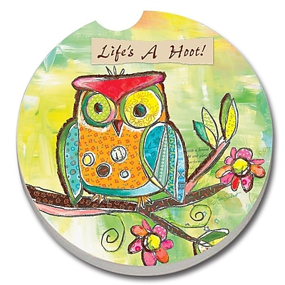 CounterArt Absorbent Stone Owl Life's a Hoot Car Coaster (Set of 2) WYF078279300781
