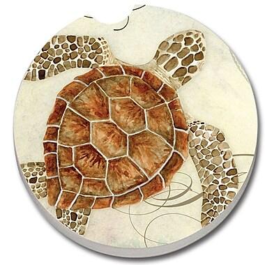 CounterArt Absorbent Stone Sea Turtle Car Coaster (Set of 2)