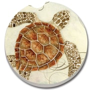 CounterArt Absorbent Stone Sea Turtle Car Coaster (Set of 2)
