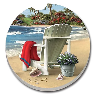 CounterArt Absorbent Stone You Can Dream Beach Chair Car Coaster (Set of 2)