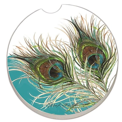 CounterArt Absorbent Stone Elegant Peacock Car Coaster (Set of 2) WYF078279300787