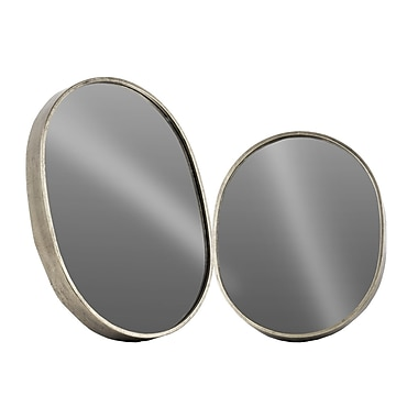 Urban Trends 2 Piece Oval Wall Mirror Set; Silver