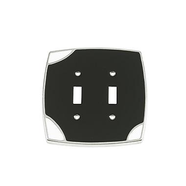 Windborne Studios Lumino Double Toggle Switch Plate; Black/White