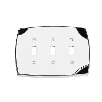 Windborne Studios Lumino Triple Toggle Switch Plate; White/Black