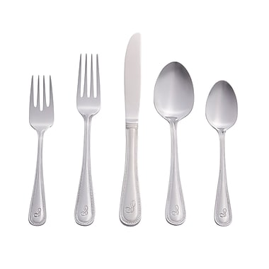 RiverRidge Home Products 10-163 Beaded 18/0 Stainless Steel 46 Piece Monogrammed Flatware Set