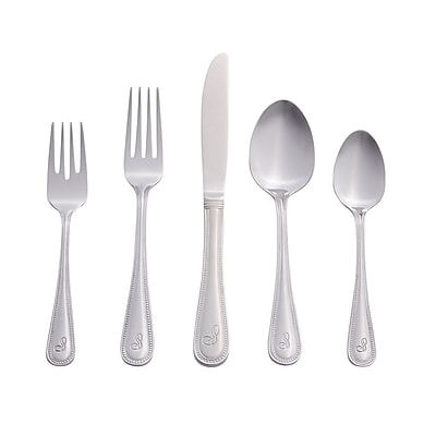 RiverRidge Home Products 10-163 Beaded S 18/0 Stainless Steel 46 Piece Monogrammed Flatware Set