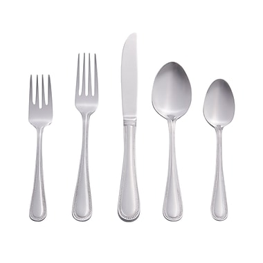 RiverRidge Home Products 10-171 Beaded 18/0 Stainless Steel 46 Piece Flatware Set
