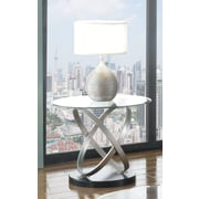 Brassex Chantal End Table, Silver/Black (275-06)