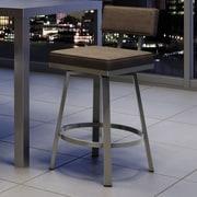 Amisco New York Style 26'' Swivel Bar Stool; Matte Light Gray/Dark Brown Gray