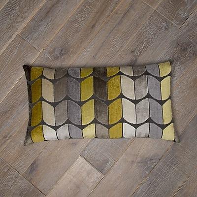 Grouchy Goose Domain Cotton Lumbar Pillow; Yellow / Gray