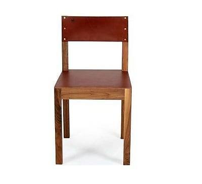 Organic Modernism Montana Genuine Leather Upholstered Dining Chair