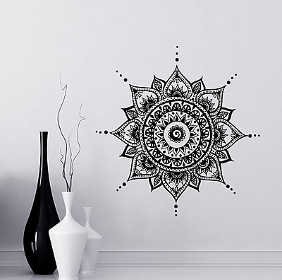 Decal House Mandala Mehndi Wall Decal; Black