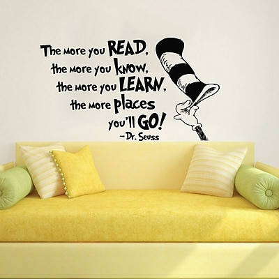 Decal House Dr Seuss the More That You Read Wall Decal; Black