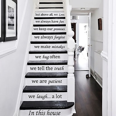 Decal House In This House We Do Stairway Decal; Light Red