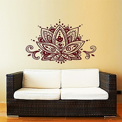 Decal House Mandala Lotus Flower Wall Decal; Red