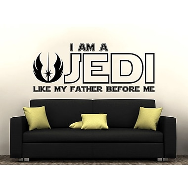 Decal House I am a Jedi, Like My Father Before Me Wall Decal; Gray