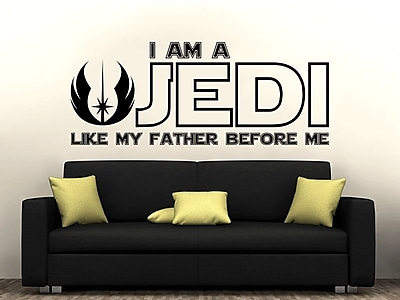 Decal House I am a Jedi, Like My Father Before Me Wall Decal; Sky Blue