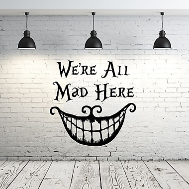Decal House Alice in Wonderland We're All Mad Here Wall Decal; Pink