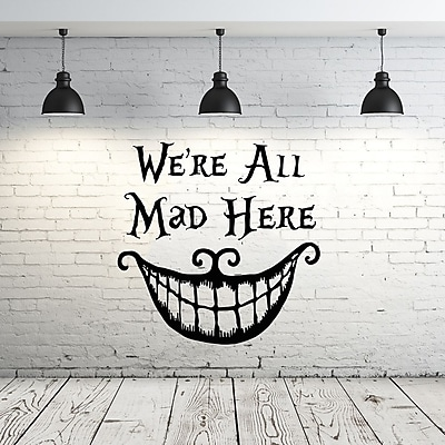 Decal House Alice in Wonderland We're All Mad Here Wall Decal; Light Brown