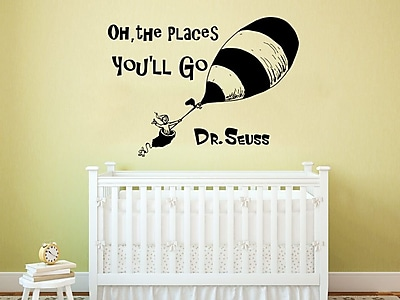 Decal House Dr Seuss Oh the Places You''ll Go Wall Decal; Gold