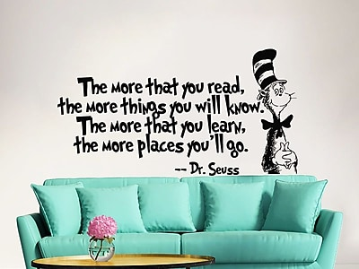Decal House Dr Seuss the More That You Read Decal Quote Sayings Wall Decal; Blue