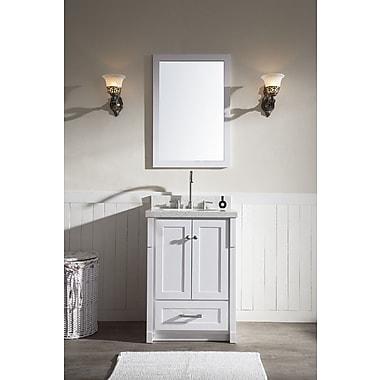 Ariel Bath Adams 25'' Single Sink Vanity Set w/ Mirror; White