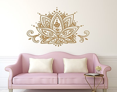 Decal House Mandala Lotus Flower Wall Decal; Yellow