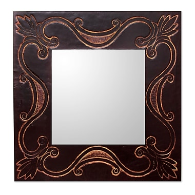 Novica Lotus Tendrils Handcrafted Contemporary Wall Mirror w/ Tooled Leather