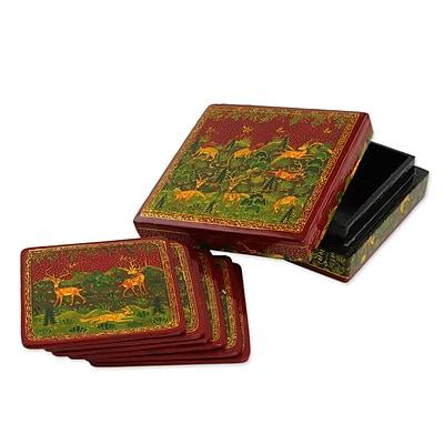 Novica Medieval Forest Wood Coaster (Set of 6) WYF078279257341