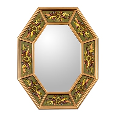 Novica Living Nature Reverse Painted Glass Wall Mirror