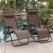 Belleze Zero Gravity Chaise Lounge w/ Cushion (Set of 2); Brown