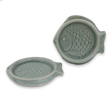Novica Fish Hand-Crafted Celadon Ceramic Coaster (Set of 2)