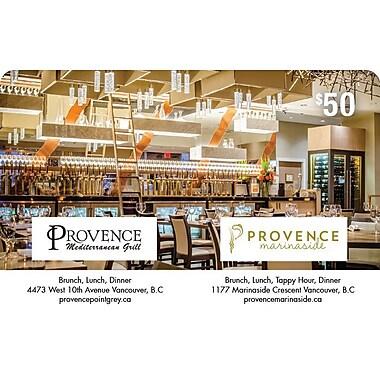 Carte-cadeau Provence Group de 50 $